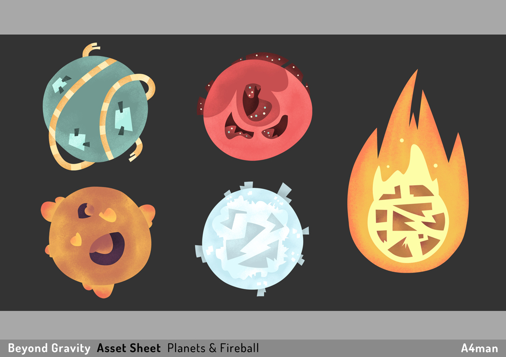 BG Asset Sheet Planets and Fireball A4man